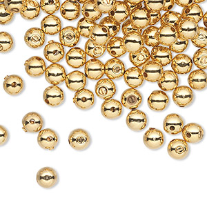 crimp, screw-tite crimps™, gold-plated copper, 4mm round, 1mm inside diameter. sold per pkg of 144 (1 gross).