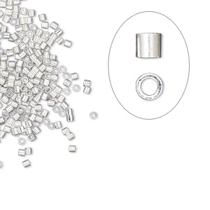 crimp, silver-plated brass, 1.1x1mm micro cut tube, 0.7mm inside diameter. sold per pkg of 100.