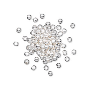crimp, silver-plated brass, 2.5mm round, 1.5mm inside diameter. sold per pkg of 500.