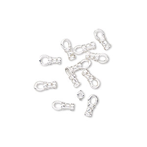 crimp, silver-plated brass, 4x2mm tube with loop, 1mm inside diameter. sold per pkg of 10.