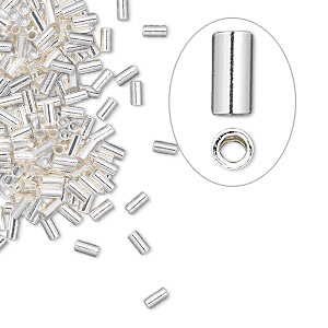 crimp, sterling silver, 3x1.5mm micro cut tube, 1.1mm inside diameter. sold per pkg of 100.