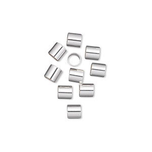 crimp, sterling silver, 4x4mm cut tube, 3.5mm inside diameter. sold per pkg of 10.