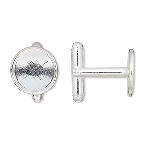 cuff link, silver-plated brass, 12mm round bezel setting. sold per pkg of 2 pairs.