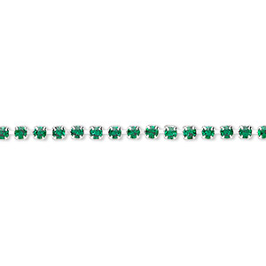 cupchain, glass rhinestone and silver-plated brass, emerald green, 2mm round. sold per pkg of 1 meter, approximately 320 cups.