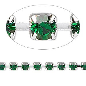 cupchain, glass rhinestone and silver-plated brass, emerald green, 4mm round. sold per pkg of 1 meter, approximately 160 cups.