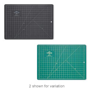 cutting mat, self-healing, composite vinyl, green and black, 12 x 8-1/2 inch double-sided gridded rectangle. sold individually.