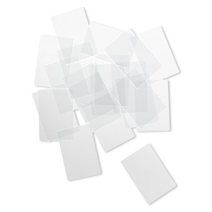 design element, glass, clear, 1-1/2 x 1-inch flat rectangle with grounded edges. sold per pkg of 20.