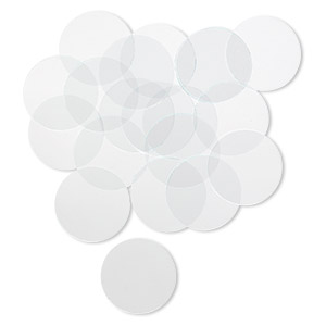 design element, glass, clear, 1-1/4 inch flat round with cut edges. sold per pkg of 20.