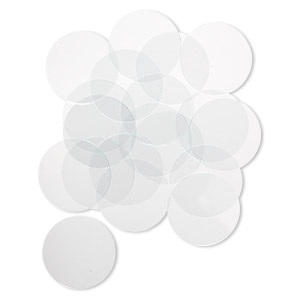 design element, glass, clear, 1-3/8 inch flat round with cut edges. sold per pkg of 20.