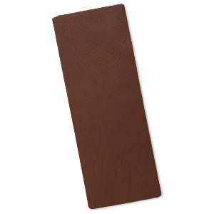 design element, leather (dyed), brown, 9-1/4 x 3-1/2 inch double-sided rectangle. sold individually.