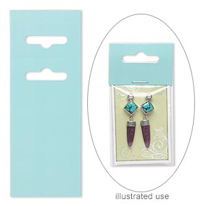 display card, paper, pastel blue-green, 3-1/2 x 2 inches with fold-over butterfly hang tab. sold per pkg of 50.