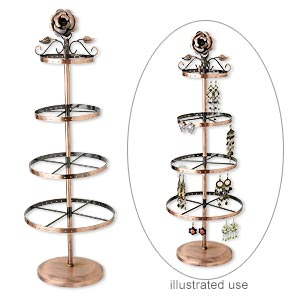 display, earring, antique copper-finished steel, 23-1/2x7-3/4x6-inch round, rose series. sold individually.