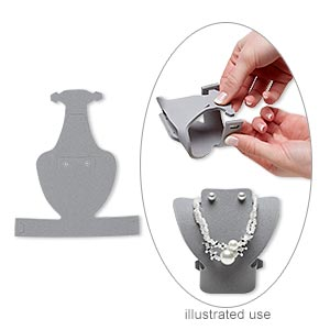 display, foldable, necklace and earring, foam, grey, 3-1/4 x 3-1/4 x 2 inches assembled. sold per pkg of 2.