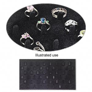 display insert, ring, velveteen, black, 14-1/2 x 7-1/2 x 1/4 inches, 51 tabs. sold individually.