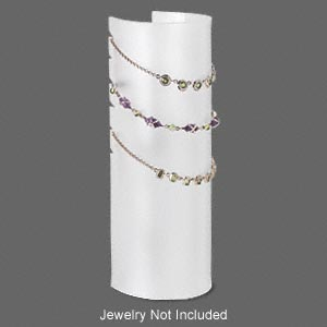 display, necklace, acrylic, white, 7-3/4 x 2-1/2 x 2-1/2 inch half-cylinder. sold individually.