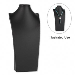 display, necklace, leatherette, black, 16-3/4 x 8 x 4-1/2 inches. sold individually.