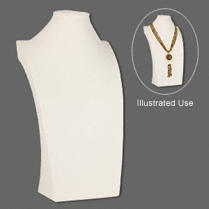 display, necklace, leatherette, cream, 13-1/2 x 7-1/2 x 3-3/4 inches. sold individually.