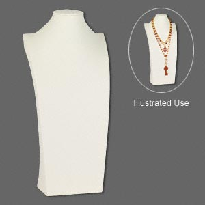 display, necklace, leatherette, cream, 16-3/4 x 8 x 4-1/2 inches. sold individually.