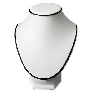 display, necklace, leatherette, white and black, 8-1/4 x 7-1/2 x 7 inches. sold individually.