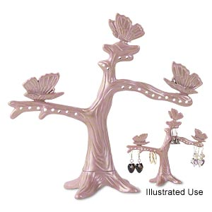 display, pewter (zinc-based alloy) and enamel, lavender, 4-1/2 x 5 x 2 inch tree with butterflies. sold individually.