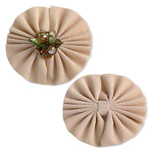 display, ring, imitation suede, tan, 3 x 3 x 1/4 inch single-sided round bow. sold per pkg of 4.