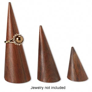 display, ring, wood, assorted size cone. sold per 3-piece set.