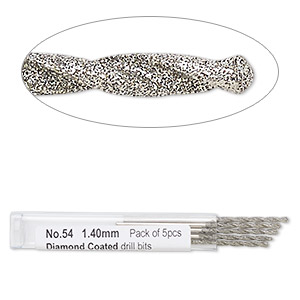 drill bit, diamond-coated high speed steel, 2 inches with 1.4mm shank and 1.7mm twisted bit. sold per pkg of 5.