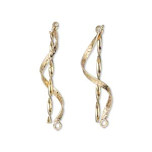 drop, 14kt gold-filled, 1-inch twist and hammered swirl with solid loop. sold per pkg of 2.