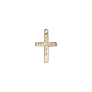 drop, 14kt gold-filled, 14x10mm single-sided flat cross with diamond design. sold individually.