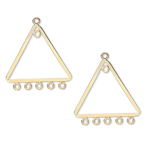 drop, 14kt gold-filled, 23x19mm flat triangle, 6 loops. sold per pkg of 2.