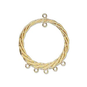 drop, 14kt gold-filled, 25mm braided flat round with 6 loops. sold per pkg of 2.