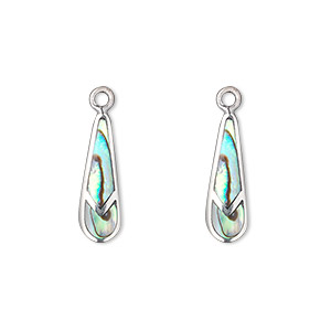 drop, abalone shell (natural) and sterling silver, 17x6mm single-sided teardrop. sold per pkg of 2.