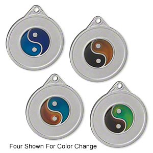 drop, acrylic and imitation rhodium-plated pewter (zinc-based alloy), multicolored, 22mm color-changing single-sided flat round with yin-yang symbol. sold per pkg of 2.