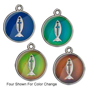 drop, acrylic and imitation rhodium-plated pewter (zinc-based alloy), multicolored, 20mm color-changing flat round with christian fish and cross. sold per pkg of 2.