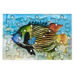 drop, acrylic, multicolored, 3x2 inch puzzle with fish image and 20x15mm individual pieces. sold per 15-piece set.
