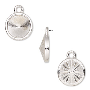 drop, almost instant jewelry and tierracast, rhodium-plated pewter (tin-based alloy), 14mm round with ss47 rivoli setting. sold individually.
