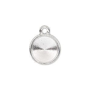 drop, almost instant jewelry and tierracast, rhodium-plated pewter (tin-based alloy), 15mm round with 12mm rivoli setting. sold individually.
