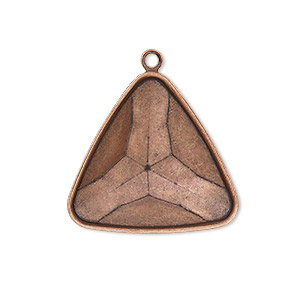 drop, almost instant jewelry, antique copper-plated brass, 27x27x27mm faceted triangle with 23x23x23mm triangle setting. sold per pkg of 2.