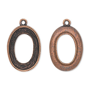 drop, almost instant jewelry, antique copper-plated pewter (tin-based alloy), 24x18mm oval with 22x16mm cosmic oval setting. sold individually.