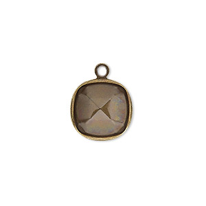 drop, almost instant jewelry, antique gold-plated brass, 14mm rounded square with 12mm cushion setting. sold per pkg of 4.