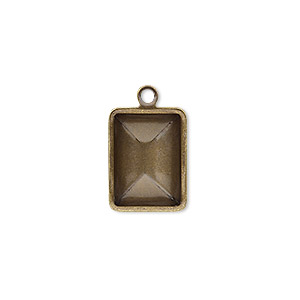 drop, almost instant jewelry, antique gold-plated brass, 16.5x12.5mm faceted rectangle with 14x10mm rectangle setting. sold per pkg of 10.