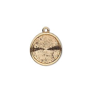 drop, almost instant jewelry, antique gold-plated pewter (tin-based alloy), 17mm round with 14mm rivoli setting. sold individually.