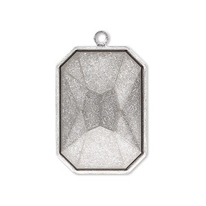 drop, almost instant jewelry, antique silver-plated brass, 29x21mm rectangle with 27x18.5mm emerald-cut setting. sold per pkg of 2.