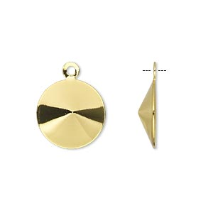drop, almost instant jewelry, gold-finished brass, 15mm round with 14mm rivoli setting. sold per pkg of 10.