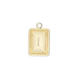 drop, almost instant jewelry, gold-plated brass, 16.5x12.5mm faceted rectangle with 14x10mm rectangle setting. sold per pkg of 10.