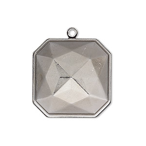 drop, almost instant jewelry, gunmetal-plated brass, 25x25mm square with 23x23mm square setting. sold per pkg of 2.