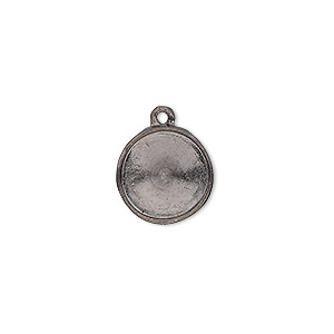 drop, almost instant jewelry, gunmetal-plated pewter (tin-based alloy), 14mm round with 12mm rivoli setting. sold individually.