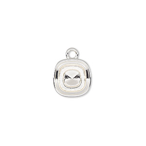 drop, almost instant jewelry, silver-plated pewter (zinc-based alloy), 12mm square with 10mm square setting. sold per pkg of 2.