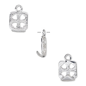 drop, almost instant jewelry, silver-plated pewter (zinc-based alloy), 15x13mm square with cutout hearts and 12x12mm chessboard setting. sold per pkg of 2.