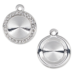 drop, almost instant jewelry, swarovski crystals and silver-plated pewter (zinc-based alloy), crystal clear, 18.5mm round with 14mm rivoli setting. sold individually.